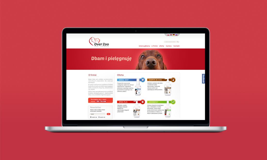 projekt strony Over Zoo